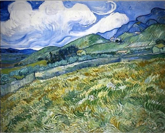 Le champ de blé sur fond de montagnes