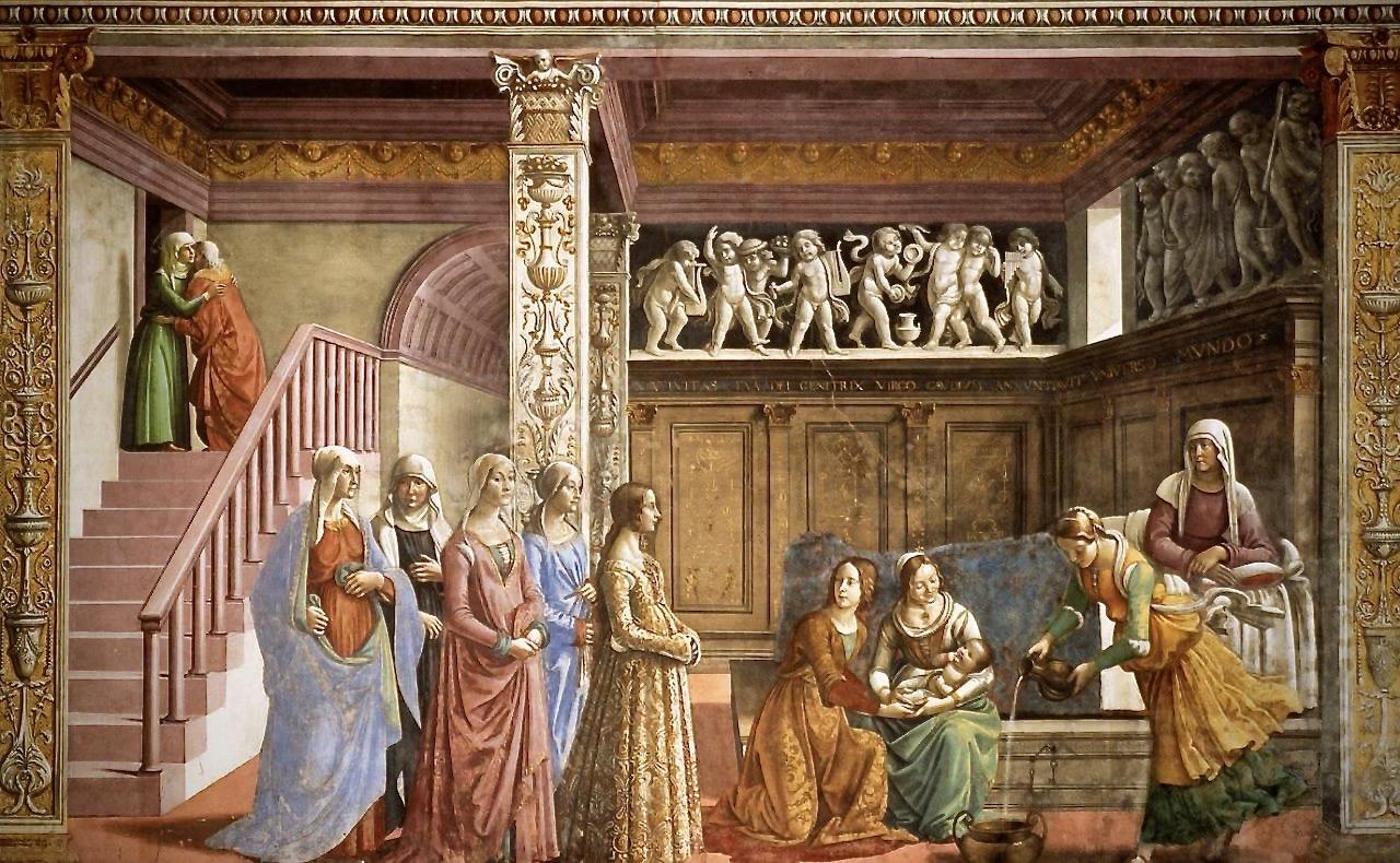 ghirlandaio-chapelle-tornabuoni-la-naissance-de-la-vierge-1485-90