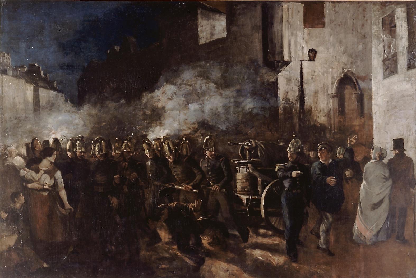 Pompiers_courant_au_feu_by_Gustave_Courbet_1851
